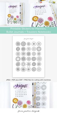 Printable Flower Stickers, Hand Drawn Printable Bullet Journal Stickers, Decorative Floral Printable Stickers for Decorating Planner Layouts Bullet Journal Daily, Bullet Journal Layout, Bullet Journal Inspiration, Bullet Journals, Printable Flower, Floral Printables, Organization Bullet Journal, Planner Organization, Journal Stickers