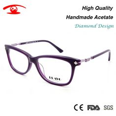 New Women Luxury Eyeglasses Handmade Acetate oculos de grau feminino Rhinestone Eyewear lentes opticos mujer Clear Lens
