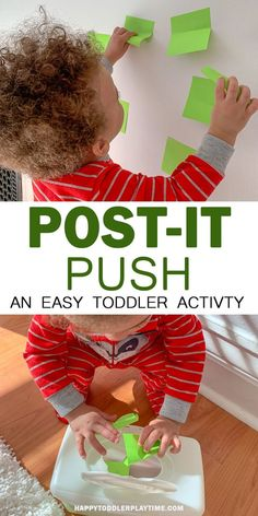 Post-it Push – HAPPY TODDLER PLAYTIME In need of a quick activity to keep your walking baby happy or your toddler busy? Try this super easy posting activity that only requires two things!! #toddler #toddleractivities