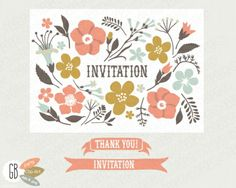 Folk Invitation Clip Art Kit flowers ribbon by GrafikBoutique Invitation Kits, Flower Invitation, Invites, Wedding Invitations, Aesthetic Template, Stationery Paper, Art Party, Paper Background, Graphic Illustration