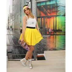 abitino bianco con fascione gonna giallo - Lab 25 - Wear yourself