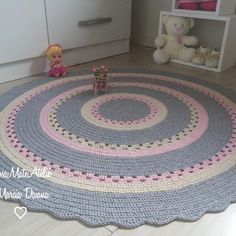 Crochet Rug Patterns, Granny Square Crochet Pattern, Tapete Doily, Kids Bedroom Designs, Cool Rugs, Chrochet, Doilies, Crochet Baby, Kids Rugs