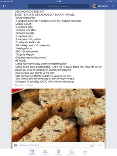 [Recipe is in Afrikaans] Gesondheids Beskuit My Recipes, Sweet Recipes, Baking Recipes, Favorite Recipes, Healthy Breakfast Snacks, Breakfast Recipes, Kos, Beer Bread Mix, Rusk Recipe