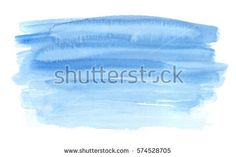 Horizontal gradient blue brush strokes painted in watercolor on clean white background