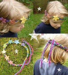 Hairbands - Magical Rainbow Stars Crown - a unique product by Mei - Desserts Board - Regenbogen Waldorf Crafts, Waldorf Toys, Diy For Kids, Crafts For Kids, Project Red, Felt Crown, Rainbow Star, Felt Patterns, Knitting For Beginners