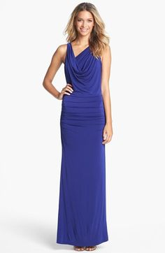 BCBGMAXAZRIA 'Nicole' Draped Jersey Gown available at #Nordstrom-- love this dress; check out the back. va-va-voom.