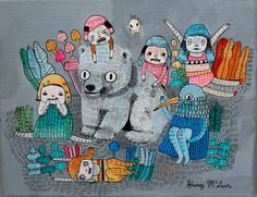 friends stick together. painting on canvas by Krissy McLean