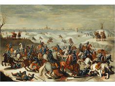 Das Duell, das während der Schlacht am 05.02.1600 im Winter stattfand, hier breitformatig geschildert. Im Vordergrund aufeinandertreffende Reitergruppen, im ...