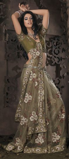 Olive Green And Silver Net Saree With Unstitched Blouse