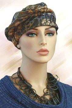 $19.50 - Navy Blue Crinkle Shirred Cap - @ hatsforyou.net #cancer #chemo #alopecia #hair loss