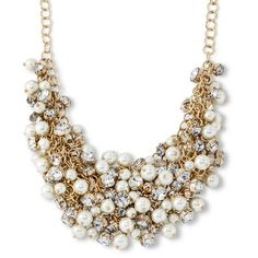 Women's Capsule by Cara Collar Necklace with Dangling Crystals and Simulated Pearls - Gold/Crystal/White