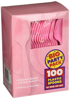 New Pink Plastic Spoons | 100ct