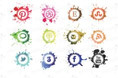 $6 Watercolor Social Media Icons ~~ Add some color to your website with these haphazard social media icons.     Download file is without the watermark & is a large transparent .PNG file so you can work with sizing when designing and composing your website.