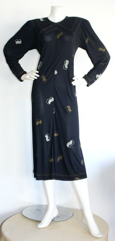 Vintage Jean Muir Navy Art-Deco 1930s Style Fan Dress w/ Lucite Buttons | From a collection of rare vintage evening dresses at https://www.1stdibs.com/fashion/clothing/evening-dresses/