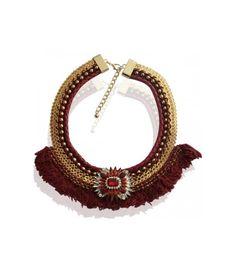Rode halsketting met vlechtwerk, kralen en kwastjes De mooiste Halskettingen koop je online Snelle levering Trendy en moderne Halskettingen Rode halskettingen...