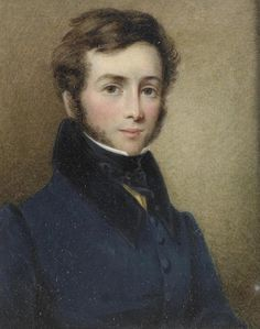 English School, circa 1815 A young gentleman, wearing blue coat with black collar, yellow waistcoat, white chemise and black stock, with short brown hair and side whiskers