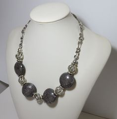 Necklace Grey Ceramic Metal Ball Chain Short Handmade by FabulousFuss on Etsy Pearl Necklace, Beaded Necklace, Ball Chain, Ceramics, Pearls, Etsy, Trending Outfits, Unique Jewelry, Handmade Gifts