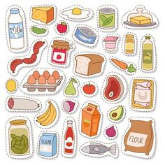 by Vectorssstocker Everyday food icons patchwork. Set of common goods and everyday products we get by shopping in supermarket. Patch food breakfast o