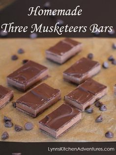 Homemade Three Musketeers Bars from LynnsKitchenAdventures.com ...