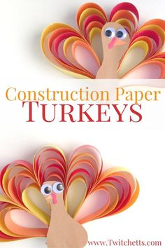 How to make an easy 3D construction paper turkey craft - Twitchetts