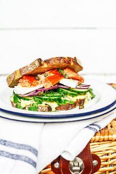 The Ultimate Hot Smoked Salmon Sandwich with roast garlic aioli