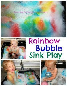 To make rainbow bubbles, fill the sink with bubbles and water. Then add a few drops of food coloring in varying colors to the bubble mountains and use a popsicle stick (or any other object) to swirl the food coloring into the bubbles. Sensory Activities Toddlers, Baby Sensory, Indoor Activities, Craft Activities For Kids, Infant Activities, Sensory Play, Projects For Kids, Baby Activites, Sensory Tubs