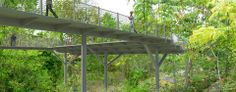 Une passerelle piétonne dans le parc sergent Bandan Lyon. Accessible aux personnes à mobilité réduite, elle se fraye un passage entre les arbres, proche du jardin d'ombre .Elle raccorde le fort et l'entrée située au boulevard des Tchécoslovaques.