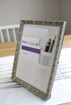 Fabric and a Frame equal Desk organizer!