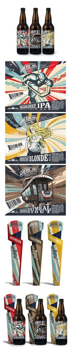 American Brewing Company - Unsurprisingly All-American in theme, especially in the first and last designs. The art style is full of movement and makes it feel like the label isn't just sitting there as a placeholder but as something to be enjoyed alongside the beverage. The explosive stripey backgrounds give the designs a slightly retro feel, channeling the imagery of old-timey American fun fairs.