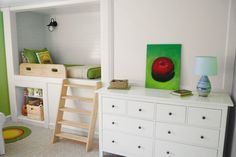 Smart DIYers took advantage of the hidden square footage next to and behind the closet in a small child's bedroom. They tapped into an unused attic stairwell, to make room for a built-in twin bed with shelves at one end and below