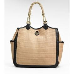 Tory Burch Straw Channing Tote found on Polyvore featuring polyvore, fashion, bags, handbags, tote bags, purses, straw purse, tory burch purse, beige tote and top handle purses