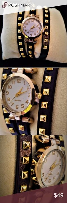 Stunning Wrap It On Women's Wristwatch    Small-faced women's wristwatch * Quartz *Black leather band with gold studs A beautiful watch that is great for every day! NWOT Accessories Watches