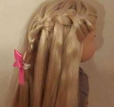 Video tutorial for doing a waterfall braid on American Girl dolls. This works well for Julie's hair.