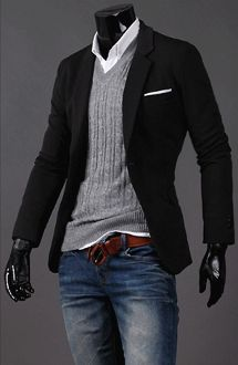 The casual blazer, v-neck sweater and regular jeans with white dress shirt.