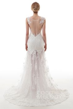 Fantastic Trumpet-Mermaid Straps Natural Sweep-Brush Train Lace and Tulle Ivory Sleeveless Side Zipper Wedding Dress with Beading and Embroidery LD4454#Cocomelody#weddingdresses#bridalgown#