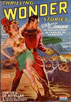 Thrilling Wonder Stories, Star of Treasure, cover by Earle Bergey, 1944
