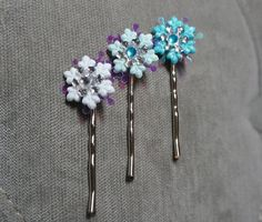 """Frozen Inspired Elsa Winter Snowflake Hairpins/ bobby pin. Small 1"""" Snow Flake Hair Clips. White, Baby Blue or Turquoise."""