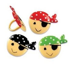 24 pc Pirate Face Cupcake Rings -- Click image to review more details.
