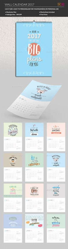 Wall Calendar 2017 Template Indesign Indd | Calendar Templates