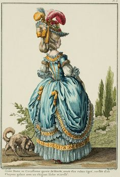 Galerie des Modes, 8e Cahier, 2e Figure Young Lady in a Circassienne trimmed with blonde lace, decorated with a streaked ribbon, wearing a romantic Hat and a loose, braided chignon. (1778)
