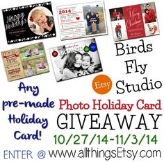 Visit #allthingsEtsy and enter to win a #giveaway for any 1 digital holiday photo card from #birdsflystudio on #Etsy! (Ends 11/3/14)