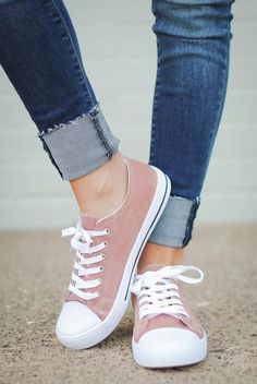 These sneakers are a great way to add in a pop of color! Dusty rose, vegan suede sneakers with laces and white sole. Measurements: Sole: *Fit is true to size. Suede Sneakers, Sneakers Fashion, Fashion Shoes, Canvas Sneakers, Jordans Sneakers, Women's Fashion, Shoe Boots, Shoes Heels, Mode Shoes