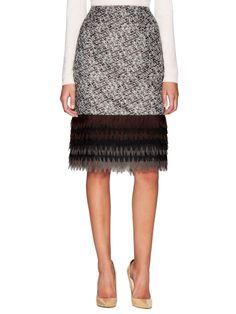 Geometric Fringe Pencil Skirt