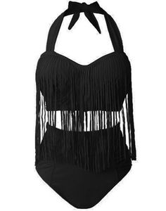 Women Swimwear Sexy Color High Waist Fringe Design