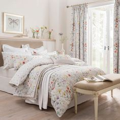 Dorma Floral Wildflower Print Luxurious Cotton White and Purple Duvet Cover Beige Bed Linen, Bed Linen Sets, Duvet Sets, Linen Pillows, Bed Sheet Sizes, 100 Cotton Duvet Covers, Pleated Curtains, Boho Curtains, Baby Crib Bedding
