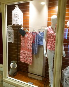 Spring window display, white bird cages and Easter holiday fashion styling for Champneys resorts Henlow Grange.   Concept, prop sourcing and installation by Hertfordshire Creative.   Featuring Joules, Katie Loxton and Butterfly Twists