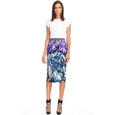 Peter Pilotto Chleo Skirt ($910) ❤ liked on Polyvore featuring skirts, peter pilotto, white knee length skirt, rayon skirt, white skirt and peter pilotto skirt