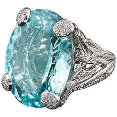 Dior Aquamarine Diamond Gold Ring | From a unique collection of vintage fashion rings at https://www.1stdibs.com/jewelry/rings/fashion-rings/
