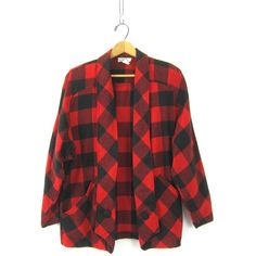 Vintage Buffalo Check Blazer Coat Slouchy Oversized Plaid Jacket Red... ($25) ❤ liked on Polyvore featuring outerwear, jackets, vintage clothes, slouchy jacket, red and black jacket, plaid blazer, oversized blazer and slouchy blazer