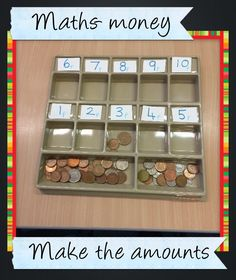 Maths activity to emphasis the value of coins, children have to use the coins to make the value shown on each sticker, up to Could be extended using different values or different coins teaching ideas Maths Eyfs, Numeracy Activities, Money Activities, Eyfs Classroom, Math Games, Primary Teaching, Teaching Math, Teaching Ideas, Early Years Maths